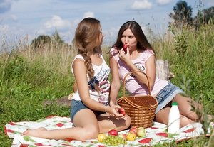 Young females with honest skin go damsel on damsel on a blanket in a field
