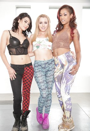 Super hot sapphic girls fondle and posture in non naked threesome