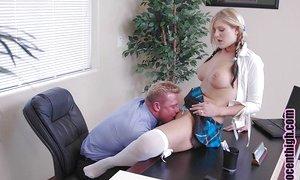 Sweet platinum-blonde schoolgirl teenage Daryn providing a juicy blowjob