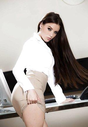 Hot black-haired teen Lana Rhoades exposing gigantic ass under skirt in office