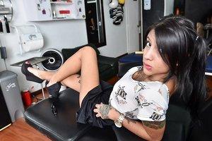 Latina beauty Mara baring nice ass and taking selfies of tattooed body