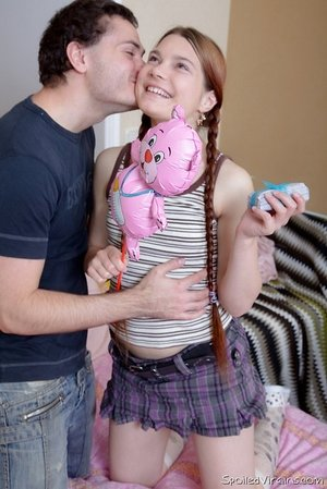 Youthfull redhead gives up her virginity in cute socks for a plush toy