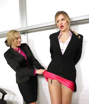 Clothed office workers Jodie Gasson & Elle Richie strip clothes off each other