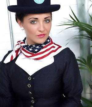 Hot air hostess strips down to her exotic tights and red panties at work