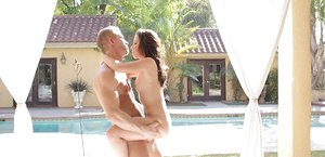 18 year old girl kisses her boyfriend's big cock after a poolside fuck