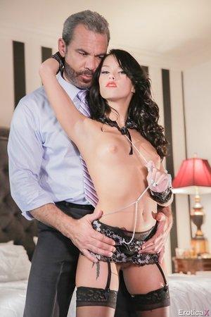 Megan Rain surprises her husband by wearing sexy fresh black lingerie