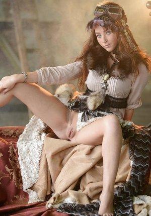 European style model Ruzanna A undresses off retro garb and pantyhose
