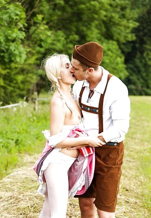 Blonde teen stunner Cayla in a vintage dress takes it deep in a doggystyle