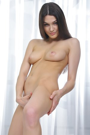 Bedroom time with brunette all natural babe with small bald beaver Vanda B