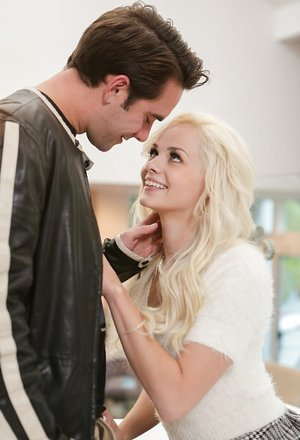 Young lady Elsa Jean greets her boyfriend after posing naked outside