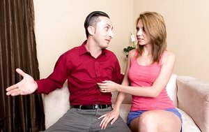 Teen Cece Capella gives a horny businessman a BJ and gets facialed