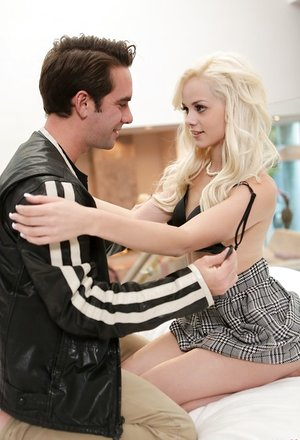 Young blonde Elsa Jean seduces her guy into an evening of sexual pleasure