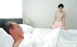 Cute young brown-haired Cadey Mercury deep-throating stepbrother for a taste of cum