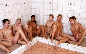 Girls running team show enjoy a hot sapphic pussy licking after game shower