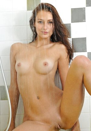 Brown-haired solo girl Yarina A flaunting tiny tits in shower