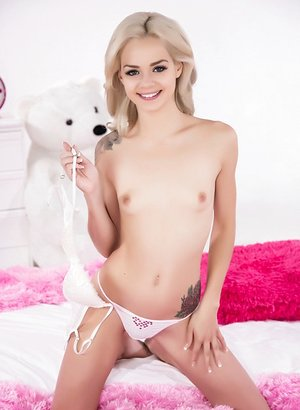 Stunning tiny young Elsa Jean removes her lovely panties to spread pussy & ass