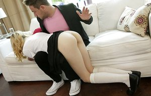 Skinny youthfull blonde gets spanked before fucking her stepfather