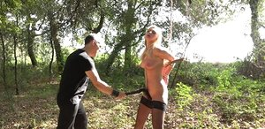 Blonde pain slut endures all the pain her captor can inflict upon her