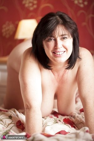 Sexy SSBBW Juicey Janey with huge saggy tits toys her fatty pussy with a dildo