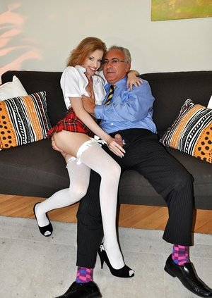Naughty Hungarian damsel Angel Hott dons school outfit for sex with an old guy