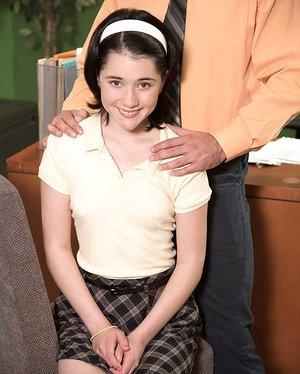 Tiny student Cadence Carter lets an old teacher fuck her tight little cunt
