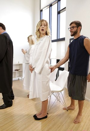 Blonde girl Haley Reed fucks her stepbrother in the middle of choir experience