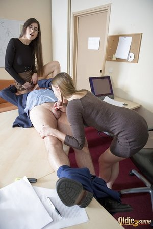 Youthful secretaries work their way up the ladder by penetrating the boss