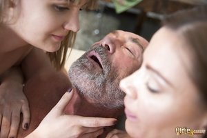 Youthful white girls seduce and fuck then fuck a really old man together