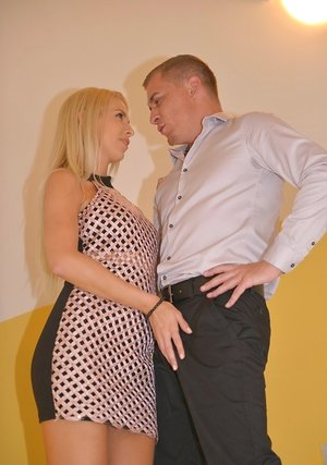 Hot ash-blonde Karol Lilien ball licking & sucking POV with her big tits nude