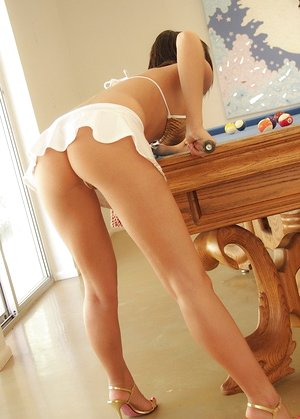 Hot teen damsel Destiny Moody undresses while shooting a game of pool