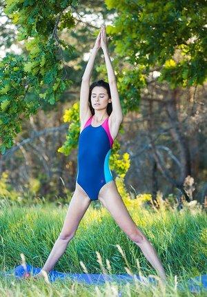 Athletic brunette Cristin M models naked after outdoor yoga session