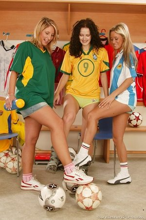 Teenage lesbians gusto each other with dildos wearing soccer uniforms