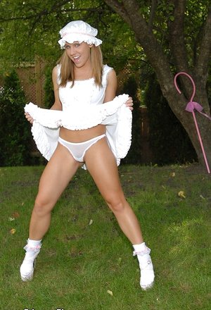 Dirty Blueyed Cass gets naughty outdoors in her provocative costume and heels